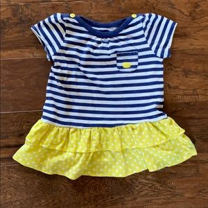 Blue, white and yellow dress with bloomers